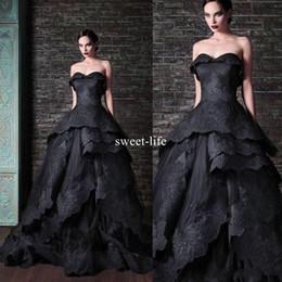 Yeni Gotik Siyah 2019 Balo Gelinlik Sevgiliye kolsuz Fermuar Dantel Aplikler Tül Katmanlı Etekler Custom Made Gelinlikler cheap black tulle ball gown skirt nereden siyah tül toplu elbise etek tedarikçiler