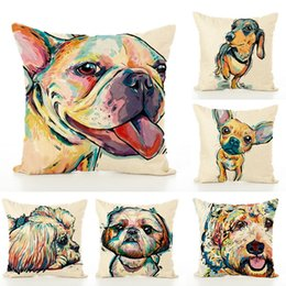 Wholesale Dog Cases Covers - Colourfu Bull Terrier Painted Pillow Case Bull dog dachshund 3D Square Cotton Linen Cheap Cushion Cover For Home Sofa Pillow Case