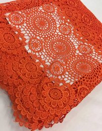 Wholesale Swiss Voile Lace Organza - Orange Handcut organza voile lace wedding Swiss African lace fabric with mesh cord guipure 5 yards 7colors available