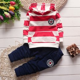 Wholesale Kids Boys Hoodies - Children clothing set 2017 spring autumn baby boys girls hoodies striped tops+pants sport suit kids tracksuit