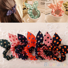Wholesale Korean Ponytail Style - Wholesale- 10Pcs Rabbit Ear Hair Tie Bands Accessories Japan Korean Style Ponytail Holder 2MOC 2VQM