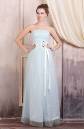 Wholesale Apple Color Bridesmaid Dresses - Hand Made Flowers Belt Long Bridesmaid Dresses Real Images Strapless Tulle Skirt Ankle Length Prom Gowns