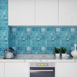 Wholesale Glass Mirror Mosaic Tiles - Oil sticker kitchen foil stickers high temperature fume paste tiled mosaic bathroom waterproof stickers new 2016 European and American