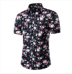 Wholesale wholesale hawaiian shirts - Wholesale-2016 Fashion Mens Short Sleeve Hawaiian Shirt Summer Casual Floral Shirts For Men Asian Size M-4XL 10 Color