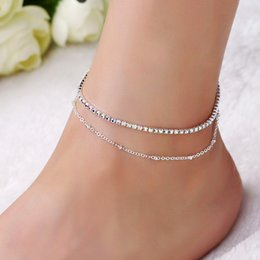 Wholesale Women Sexy Lovely - Lovely Girl AB Crystal Ankle Bracelet Silver Color Link Chain Anklet Sexy Barefoot Jewelry Women Foot Bracelet Friendship Gift
