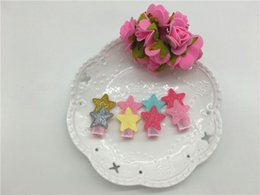 Wholesale Hair Clips Assorted - Wholesale 30pcs 6Colors Cute Glitter PU Star Patchwork Girls Hair Clips Solid Mini Star Assorted Colors BB Girls Hairpins Be
