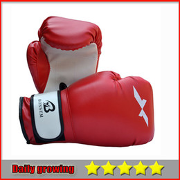 Wholesale Wholesale Karate - 2016 Black Red PU Leather Full Fingers Muay Thai Karate Combat Training Sparring Fighting Boxing Gloves
