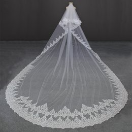 Wholesale Ivory 2t Veil Lace - 5 Meters Full Edge with Lace Two Layers Long Luxury Wedding Veil 2T White Ivory Beautiful Veil for Brides