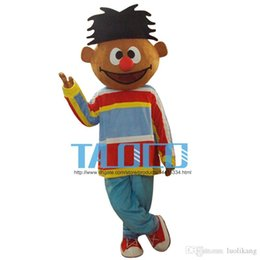 Wholesale Music Boy Mascot - Sunshine Orange Boy Lad Ernie Sesame Street Mascot Costume With Red Conglobate Big Nose Blue Trouser Adult Size Free Shipping