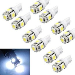 Wholesale 158 Led - 10pcs T10 Wedge 5-SMD 5050 Xenon LED Light bulbs 192 168 194 W5W 2825 158 clearance lamp White green red blue daytime running