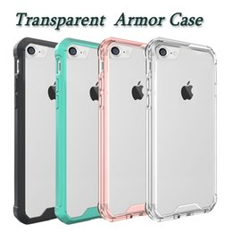 Wholesale Bumper Case Back Cover - Armor Case For Iphone X Transparent Bumper Hybrid Cases Ultra Thin TPU PC Acrylic Back Cover Case For Iphone 8 Samsung Galaxy S8 Opp Bag
