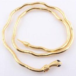 Wholesale Gold Bendable Necklace - Trendy Gold Plated 6mm DIY Snake Chain Necklace Bendable Twisty Snake Head Bangle Bracelet JJAL N320