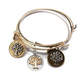 Wholesale Alex Ani Silver - Alex Bangle Cuff Bracelets Tree Of Life & Love Charm Extendable Wire Gold Silver Cuffs Stretch Bracelet Ani Bangle Cuffs