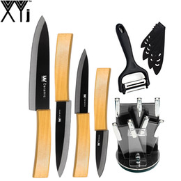"Wholesale Acrylic Knife Holder - 6 Pieces Cooking Tools Set XYj Bamboo Handle Ceramic knife 3"" 4"" 5"" 6"" Kitchen Knife + Rotated Blade Peeler + Acrylic Holder"