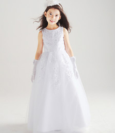 Wholesale Girls Layered Skirts - Communion Dresses Flower Girls First Communion Triple Layered Tulle White Dress Pageant Wedding Age Girls Dress Skirt Presided Over The Banq