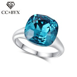 Wholesale Wedding Rings Made Silver - CC Fashion Diamond Rings For Women Midi Rings Magic Blue Crystal Wedding Ring Silver Made With Genuine Austrian Crystals Engagement R083