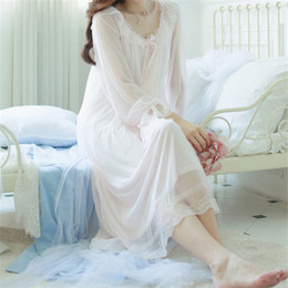 Wholesale Long Sexy Nighties - Wholesale- New Arrivals Autumn Sleepwear Solid Ladies Dresses Princess Long Sleeve Nighties Modal Lace Indoor Clothing Sexy Nightgowns #H6