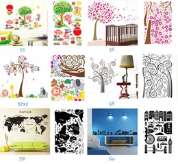 Wholesale Plants Nature - Mix Order Removable Wall Art Stickers Nursery Wall Decor 60x90cm Kids Room Wall Decals Large Wallpaper Stickers