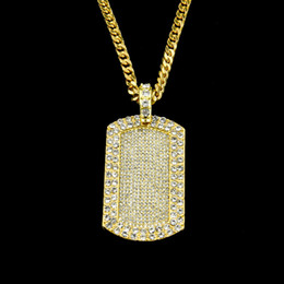 Wholesale Dog Charm Crystal - Unisex Virgin Mary HipHop full diamond blingbling Dog Tag Charm Pendant & 5mm*30inch Cuban Chain Hip hop Gold Necklace