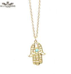 Wholesale Turkish Link Gold - 2016 New Fatima Hamsa Hand Pendant Necklace Faith Jewellery necklaces pendants turkish jewelry free shipping