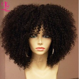 Wholesale Dark Brown Synthetic Wigs - HOT sales! Free shipping Afro kinky curly synthetic lace front wig heat resistant natural black wig short curly wig for black women