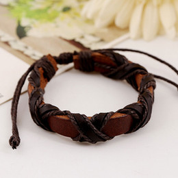 Wholesale handmade jewelry for sale - Free shipping wholesale handmade bangles ethinic tribal jewelry adjustable genuine leather bracelet for unisex hot sale