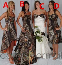 Wholesale Online Vintage Wedding Dresses - 2017 Camo Wedding Dresses A-Line Formal Camouflage Countryside Satin Bridal Gowns Camouflage Custom Online Formal Wedding Bridesmaid Dress