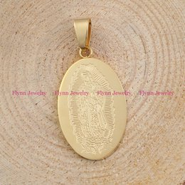 Wholesale Mary Fashion - Goddess Virgin Mary Pendants Necklace Chain Stainless Steel Pendant Oval Gold Portrait Mascot Charms Reiki Healing Amulet Fashion Jewelry