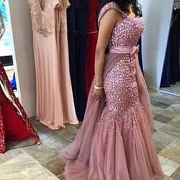 Wholesale royal blue maternity wedding dresses - 2016 Prom Dresses Party Evening Gowns with Rhinestones Detachable Train Vintage Mermaid Evening Dresses for Wedding Events