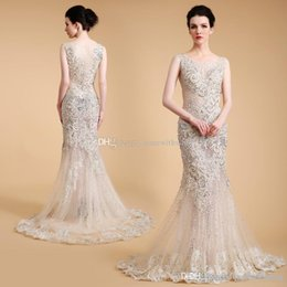 Wholesale Evening Dresses Actual Images - actual photos Arab Dubai mermaid evening dresses 2018 heavily embroidery crystals beaded scoop neckline sweep train evening gowns