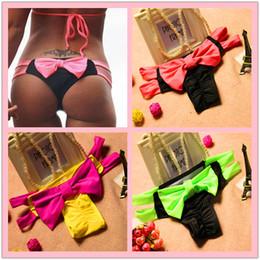 Wholesale Bow Bikini Brazilian - 2016 New Bow Thong Separates Swimsuit Women Swimwear Bandage Bathing Suit Brazilian Tanga Bikini Bottom Tanga Bathing Suits Butterfly knot