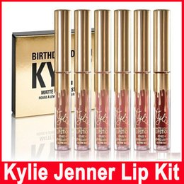 Wholesale Lipgloss Sets - Kylie Jenner Limited gold Birthday Edition Kylie lipsticks Matte liquid Lipstick 6pcs set mini gold kylie lipgloss kit