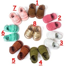 Wholesale fedex t - UPS fedex free Baby girl summer open toe PU moccasins shoes Tassels 2016 infant first walker PU leather shoes Sandals 16colors 2styles