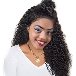 Wholesale Indian Remy Hair Wigs Wholesale - Brazilian Human Hair Full Lace Wigs Virgin Kinky Curly Glueless Lace Remy Wigs For Black Women Lace Front Wigs With Baby Hair