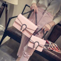 Wholesale Handbag Crocodile Skin - Wholesale- LEFTSIDE 2017 Pink Handbags Crocodile Skin Handbags Messenger Shoulder Bag For Women Crosbody Bags Chain Designer Chrismas Gift