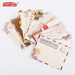 Wholesale cute korean paper envelope - Wholesale- 12 PCS set Mini Retro Vintage Kraft Paper Envelopes Cute Cartoon Kawaii Paper Korean Stationery Gift
