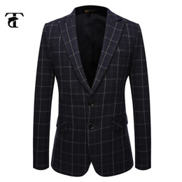 Wholesale Italian Wool Men Suit - Wholesale-2016 Dark Suit Formal Blazer Formal Men Suit Italian Formal Suits For Men Wool Mens Checked Blazer