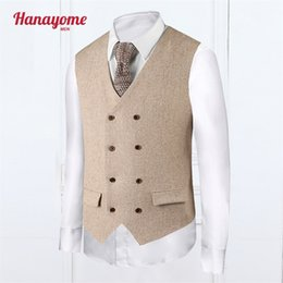 Wholesale Mens Cream Suits - Wholesale-Khaki Vest Fashion Style Mens Cream Tuxedo Plaid Mens Suits Accessories Double Column Button Vests For Male Clothes SI015