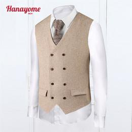 Wholesale Men S Fashion Accessories - Wholesale-Khaki Vest Fashion Style Mens Cream Tuxedo Plaid Mens Suits Accessories Double Column Button Vests For Male Clothes SI015