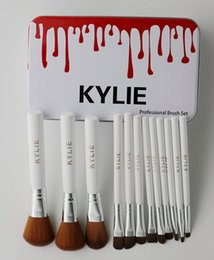 Wholesale White Wood Boxes - Kylie Makeup Brushes 12 pcs set Professional Eyeshadow Brush Set Foundation Powder Beauty Tools Cosmetic Brush Kits with Retail Box