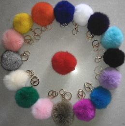 Wholesale Cars Christmas Ornament - Luxury 8CM genuine rabbit fur ball plush key chain for Christmas tree ornament filler bag car key ring Bag Pendant car keychain party gift