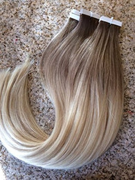Wholesale Remy Hair Extension Skin Weft - Ombre #6 613 16- 24 inch Glue Skin Weft PU Tape in Human Hair Extensions Brazilian REMY Hair Free Shipping To USA