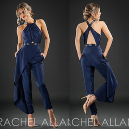 Wholesale Maternity Suits - Rachel Allan 2017 Cheap Evening Dresses Dark Navy Sleeveless Hollow Back Formal Wear Ankle Length Custom Made Party Pants Suit