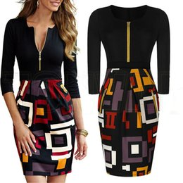 Wholesale Long Sleeve Colorblock Dress - 2016 VfEmage Womens Elegant Vintage Retro Rockabilly Pinup Geometric Colorblock Contrast Party Casual Sheath Bodycon Dress