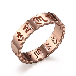 Wholesale Polish Rose Ring - 316L Stainless Steel IP Gold Plated High Polished Women Ring Fashion Jewelry Rings Faith Accessories Silver Rose Gold Size 6-10