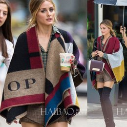 Wholesale Thick Poncho Sweater - Wholesale- Oversized Sweater Cardigan Thick Olivia Palermo Runway Catwalk Street Snap Knitted Cardigan Plaid Cape Poncho Shawl Women Lady