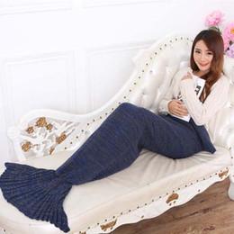 Wholesale Princess Throw - Mermaid Tail blanket handmade crochet mermaid blanket adult throw bed Wrap super soft sleeping bag 90cm 195cm