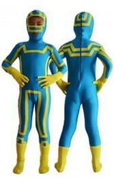 Wholesale Superman Lycra Catsuit - Halloween Birthday Party Kids Costume SUPERHERO superman lycra costume Blue and Yellow Spandex Lycra Zentai Suit
