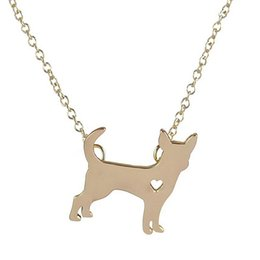 Wholesale Chihuahua Party - Wholesale And Retail New Chihuahua Necklace Puppy Heart Dog Lover Memorial Pet Necklaces Pendants Women Animal Necklace Party Gift