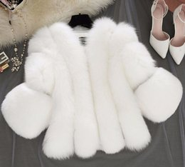 Wholesale Winter Furry Jacket - New Winter Pink Woman Fashion Furry Faux Fox Fur Coats Artificial Fur Short Grey Jacket Faux Fur Gilet Black